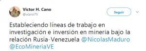 Tuit Víctor Cano en Rusia